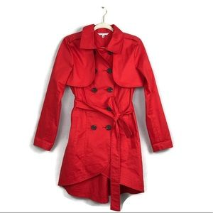 Cabi red high low vest trench coat